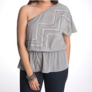 NWT Lane Bryant One Shoulder Gray Sequin Top 28